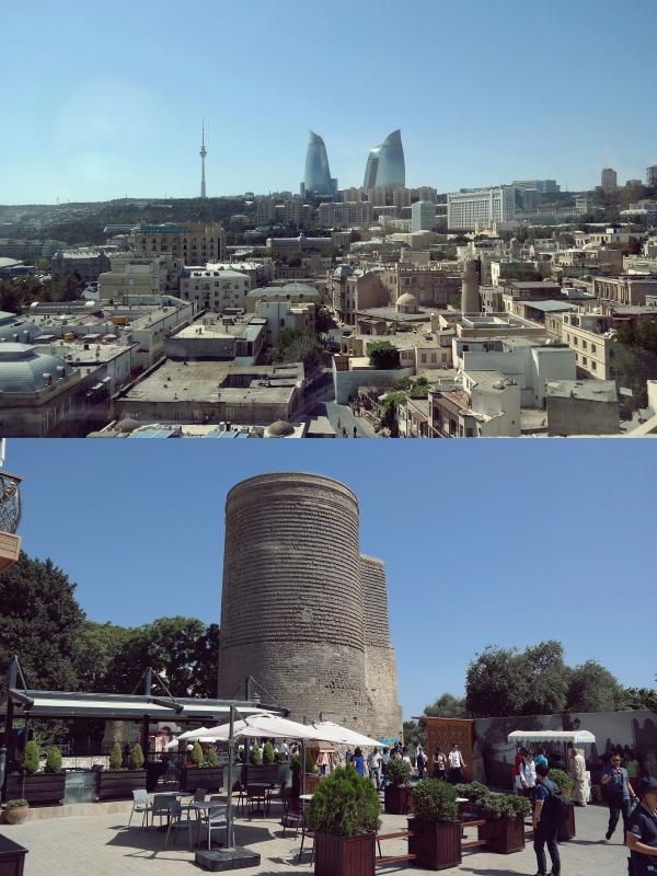 아제르바이잔의 수도 바쿠(위)와 아제르바이잔 메이든타워. 지평인문사회연구소