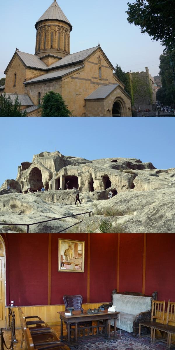 (위부터) 조지아 시오니 대성당과 조지아 우플리츠케 동굴도시, 조지아 스탈린박물관 집무실. 지평인문사회연구소